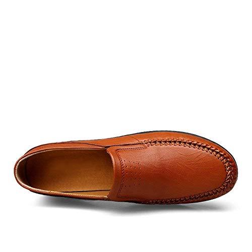 Reales Marrón Nuevos Fáciles Negocios Blanda Formales Para Hombres Tamaño Bota Como R Hombres 9 Hueco 2018 Zapatos color Mocasines Cuero Zapatillas Se Muestra Holgazanes Con Suela De Rojizo HzTxqd