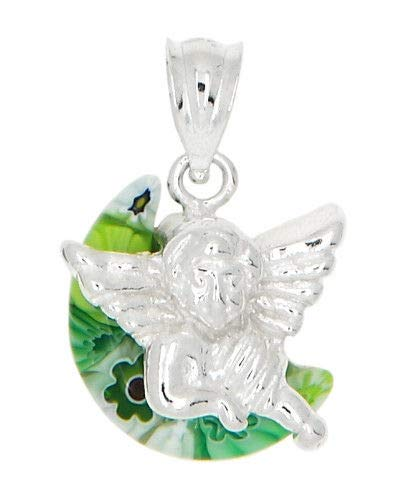 Sterling Silver MILLEFIORI Green Italian Murano Glass Angel Charm OR Pendant Jewelry Making Supply Pendant Bracelet DIY Crafting by Wholesale Charms