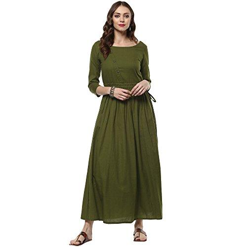 Indian Virasat Women's Mehandi Green Cotton A-Line Kurta Small Dark Green Tunic Kurti