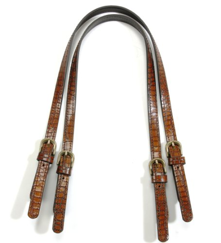 byhands Genuine Leather Purse Handles, Bag Strap with Crocodile Pattern, Brown, 28