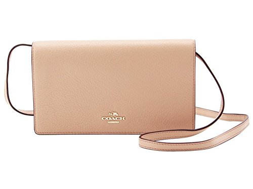 Coach Foldover Clutch Wallet Pebbled Leather Crossbody Bag F30256 (Nude Pink)