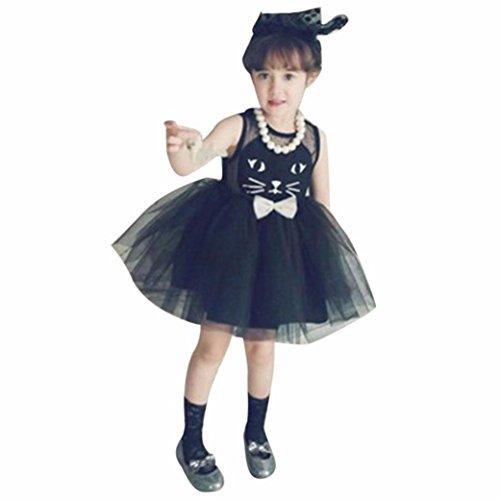 Costume Cat Teenage For Girls (Mosunx(TM) Baby Girls Summer Cat Printing Net Yarn Dress Princess Dress (3T,)