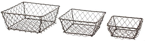 Park Hill Set Of 3 Square Wire Berry Baskets -
