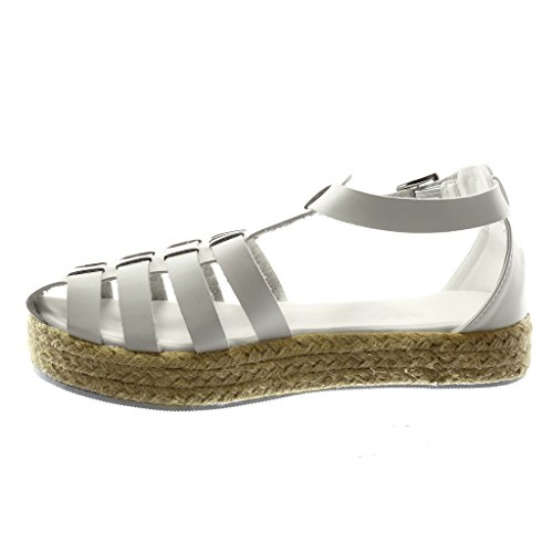 Strap Espadrilles Gladiator Multi Platform Women's Sandals Shoes Cord cm Straps Ankle Fashion 3 Angkorly Wedge White CqxfgTwa0