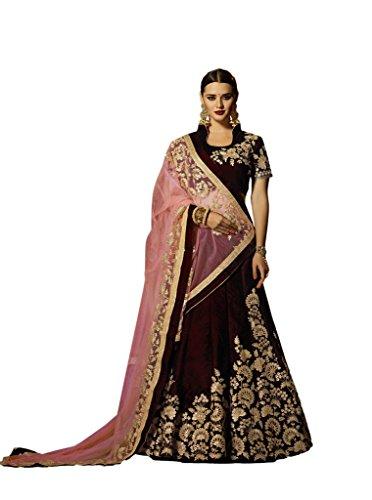 Gorgeous Lehenga Saree (EthnicWear Indian Bridal Wedding Wine Colour Gorgeous Velvett Beautiful Zari Embroidery Stone Work Lehenga Choli)