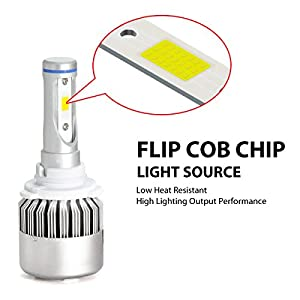 LASFIT 9005 HB3 High Beam 9006 HB4 Low Beam LED Headlight Bulbs Combo Package (2 sets) Flip COB Chips-120W 15200LM 6000K White Light