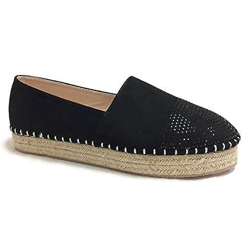 Steven Ella LAUREN Embellished Slip-On Espadrille Close Toe Flats  Perforated, JS02, Black-2, 10