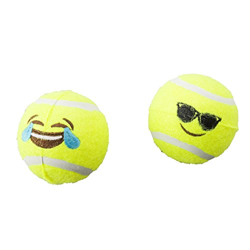 SPOT Ethical Pets Emoji Tennis Ball Dog Toy (2 Pack)