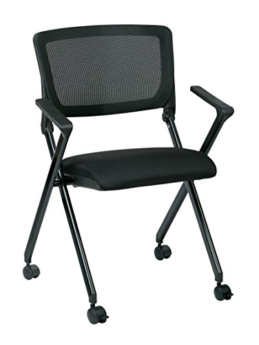 - Office Star Breathable Flexible Mesh Back Folding Nesting Chair with Padded Fabric Seat and Casters, 2-Pack, Black with Black Frame