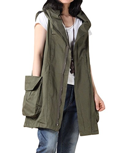 Mordenmiss Women's Sleeveless Coat Vest Hoodie Waistcoat Anoraks with Big Pockets Style 1 XL Army Green