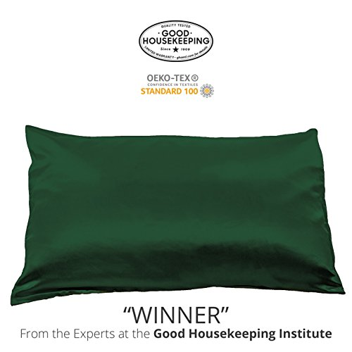 Fishers Finery 25mm 100% Pure Mulberry Silk Pillowcase Good Housekeeping Winner (Dark Green, - Silk Green