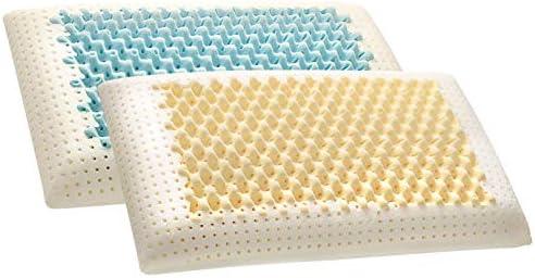 EvergreenWeb Air Massagekussen van memoryschuim 12 cm hoog dubbele hoes met zilvergaren en natuurlijk katoen ideaal voor de halswervelkolom ademend warmtegevoelig mijtdicht 2 stuks
