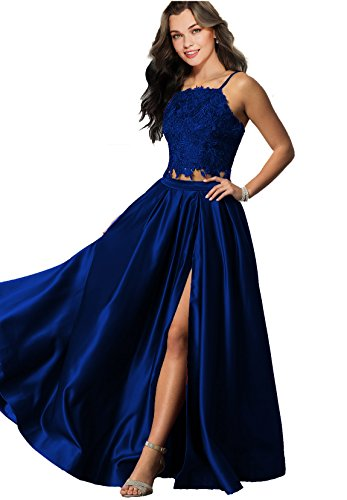 8f2dd231e3 Lily Wedding Womens Sexy 2 Piece Prom Dresses 2018 Long Formal Evening Ball  Gowns with Slit Pockets D100 Royal Blue Size 2