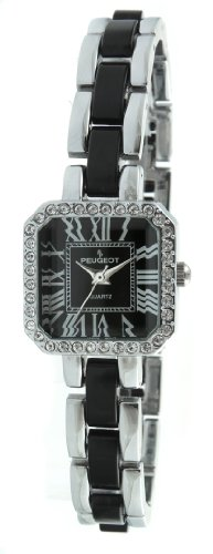 Peugeot Women's 7072BK Acrylic Link Crystal Accented Silver-tone Black Watch