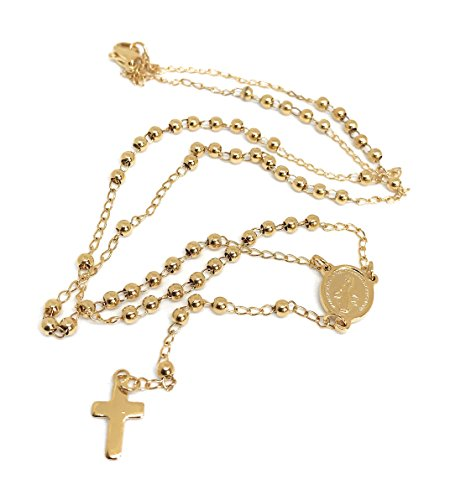 - LESLIE BOULES Gold Rosary Necklace 18K Plated Stainless Steel Miraculous Medal