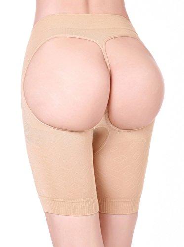HOLYSNOW Women High Waist Tummy Shapewear Abdomen Enhancer Bikini Beige M