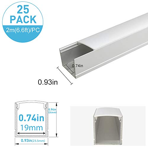 inShareplus 25 Pack 6.6FT/2M Spottiness LED Aluminum Chaneel System Silver U-Shape LED Profile With Oyster White Cover End Caps and Mounting Clips for 3528 2835 5050 Double Row and Single LED Strip