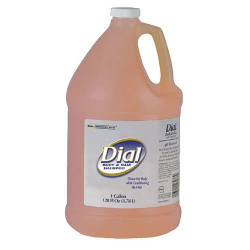 Dial Body & Hair Shampoo Gender Neutral Peach Scent, Gallon Bottle 4/Case