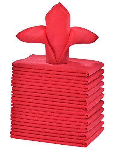 cieltown Polyester Cloth Napkins 1-Dozen (20 x 20-Inch, red)