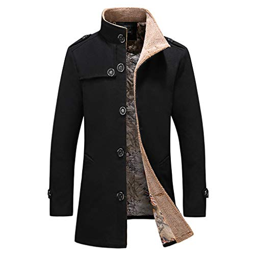 GREFER-Mens Military Peacoat Casual Single Breasted Trench Coat Stylish Slim Standing Collar Winter Jacket Plus Size Black