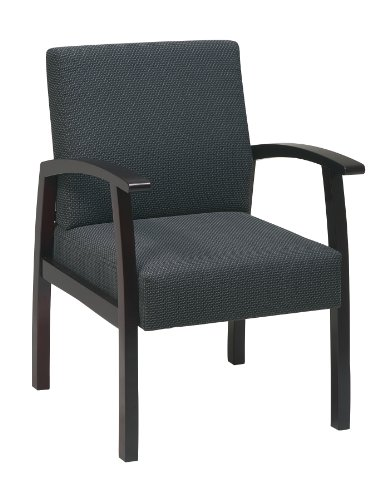 Office Star Deluxe Guest Chair with Mahogany Finish Base and Arms, Charcoal Fabric (Mahogany Finish Wood Base)
