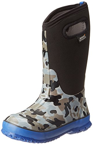 (Bogs Kid's Classic High Waterproof Insulated Rubber Neoprene Rain Boot, Camo Print/Black/Blue, 7 M US)