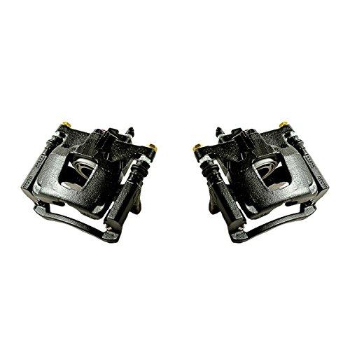 CCK02488 [ 2 ] REAR Performance Grade Black Powder Coated Semi-Loaded Caliper Assembly Pair Set