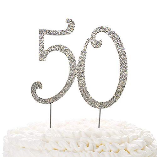 50s Decoration Ideas - 50 Silver Cake Topper | Premium