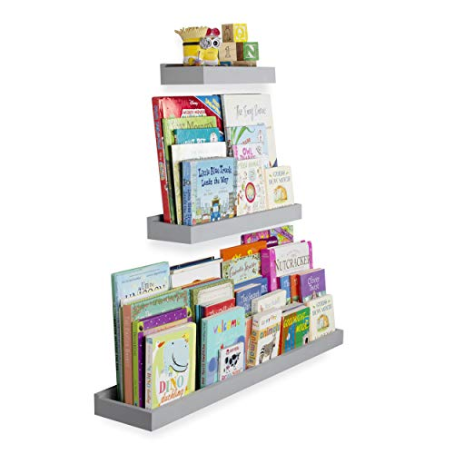 Wallniture Philly 3 Varying Sizes Floating Shelves Trays Bookshelf and Display Bookcase - Modern Wood Shelving for Kids Room and Nursery - Wall Mounted Storage Bathroom Shelf (Gray) (For Bookshelves Room Kids)