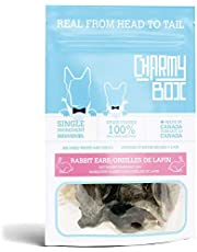 CHARMY Chews for Dogs, Rabbit Ear, Air-Dried (Gently and Slowly), Single Ingredient, Made in Canada (Pack of 1)