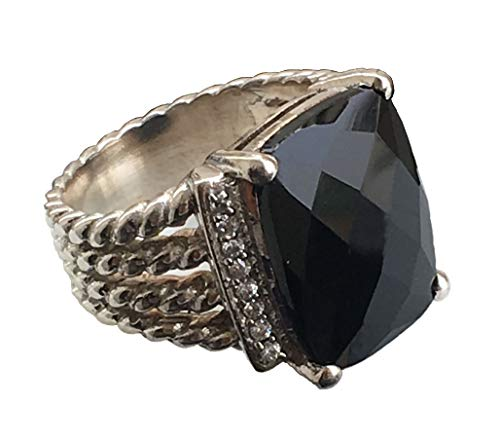 Gempara Designer Inspired Twisted Cable 16x12mm Black Onyx Ring with Simulated Pavé Diamonds Size 7 8 9 (7)