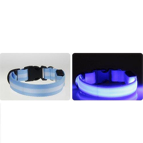 Downlight Fabric Shade (ClothingTalks Multi Size Nylon Fabric Pet Collar Optic LED Light Dog Cats Adjustable Collar Belt. (S, Blue))