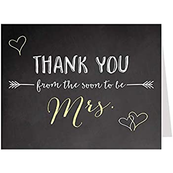 bridal shower thank you cards yellow yellow and black chalkboard wedding