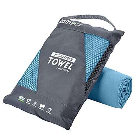 Rainleaf Microfiber Towel Perfect Sports & Travel &Beach Towel. Fast Drying - Super Absorbent - Ultra Compact. Suitable for Camping, Gym, Beach, Swimming, Backpacking. 1