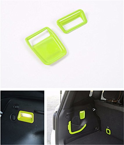 FMtoppeak Green ABS Lamps Bezel Styling Mouldings Auto Rear Trunk Tail Door Storagebox Lithts Cover Trim For Jeep Renegade 2014 UP
