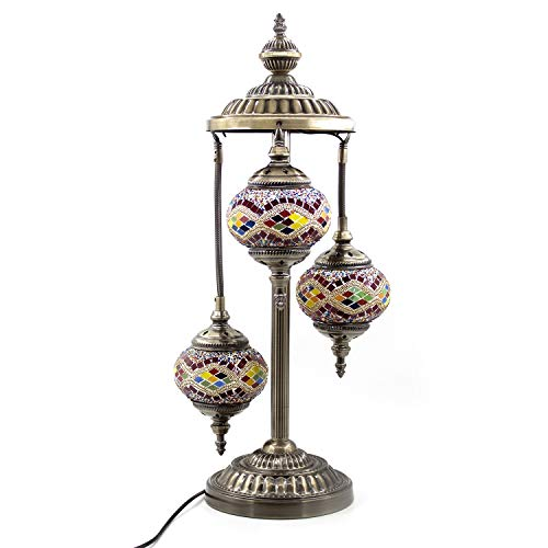 Kindgoo Turkish Mosaic Floor Lamp 3 Globe Handcrafted Multicolored Glass Lamp Decorative for Living Room Led Bulbs Included (Gold)