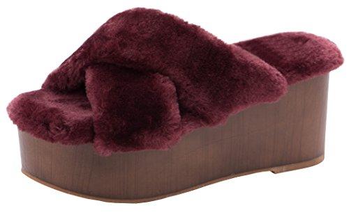 Cambridge Selezionare Donna Slip-on Open Toe Crisscross Strappy Pelliccia Sintetica Flatform Zeppa Sandalo Con Scivolo Bordeaux
