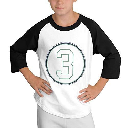 Teens Baseball Jersey Russell-Wilson-Decal 3/4 Sleeve Raglan Baseball T-Shirt Black