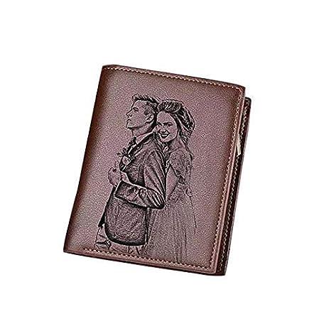 0793602568d Personalizado cumpleaños Regalo Hombres de Navidad, Foto Personalizada  Billetera tríptico Vertical(Lado Doble Marron