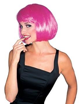 Peluca rosa de Broadway, pelo corto y flequillo en fucsia, más colores disponibles (