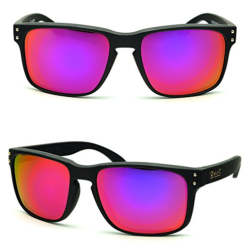 B.N.U.S Fashion Sunglasses Square Matte Black Magenta Mirror Lenses for Women (Frame: Matte Black, Magenta Flash)