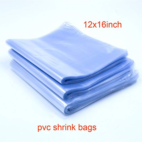 100pcs 12x16'' Shrink Bags, Shrink Wrap Bags Heat Seal PVC Film 100 Ga for Soaps, Bath Bombs, Bottles, Crafts, Shoes & DIY(Best Shrink Rate) (100pcs 1216 inch)