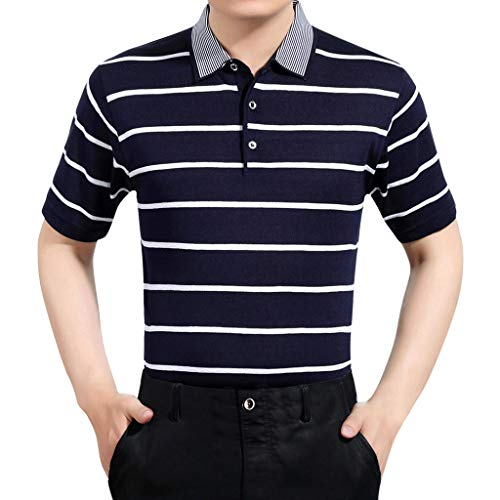 Huazi2 30-60 Years Old Men's Summer Shirts Father's Day Striped Top Blouse Black