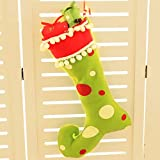 Tuscom Merry Christmas Cute Santa Claus Christmas Doll Stocking Sock Candy Bags,for Party Christmas Xmas Tree Hanging Decor,46x28cm(2 Colors) (Green)