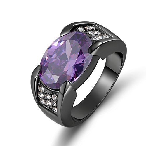 Huanhuan Jewelry Black Gold Plated Fashion Oval Cut Wedding Band Rings for Mens Purple Amethyst with Classic Cubic Zirconia Size 8 to 13