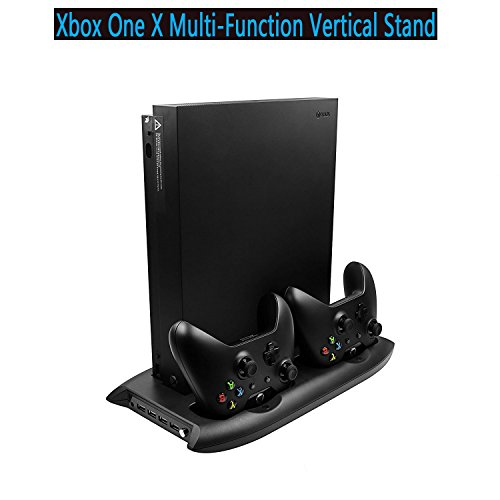 Xbox One X Vertical Stand , Aevdor Cooling Fan with Controller Charging Station Stand For Xbox One X