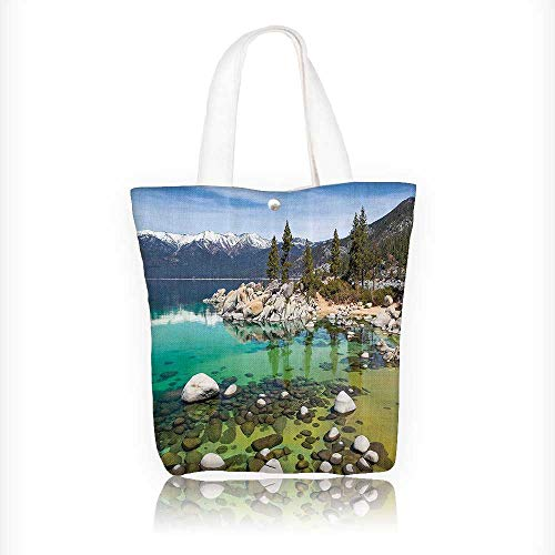 Canvas Shoulder Hand Bag ures California Collecti Sierra Nevada Lake Tahoe Rocky Mountains Tote Bag for Women Large Work tote Bag Shoulder Travel Totes Beach Bag W11xH11xD3 INCH