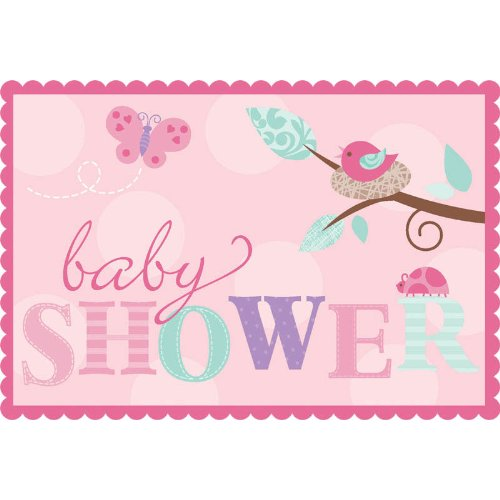Amscan Tweet Baby Girl Invites with Sticker Seals Party Accessory ToyCentre 491116
