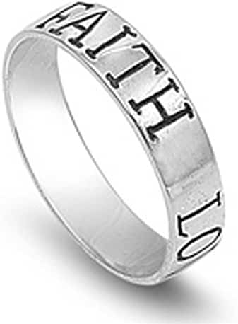 Sterling Silver Women's Love Faith Ring (Sizes 4-13)