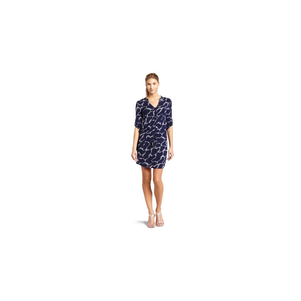 Three Dots Womens Safari Print Drawstring Shirt Dress, Navy/Greystone, Large
